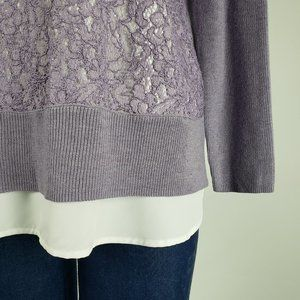 Simply Vera Vera Wang Sweaters - Vera Wang Purple Lace Sweater Size L